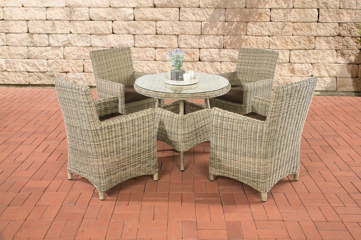 CLP Polyrattan Sitzgruppe CASOLI, natura (4 Stühle mit Tisch 90 x 90 cm) INKL. bequemen Sitzkissen, Premiumqualität: 5 mm Rund-Rattan natura, Bezugfarbe terrabraun