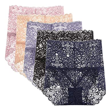 LAEMILIA Lot de 5 Culottes Femmes Slip Lâce Dentelle sous-Vêtements Haute  Taille Transparent Elastique f7b3e892c27