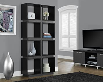 Monarch Specialties I 7075 Black Grey Hollow Core Bookcase 71quot