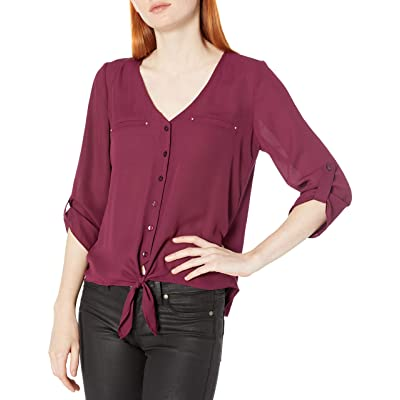 A. Byer Women's Tie-Front V-Neck Woven Shirt at Amazon Women's Clothing store
