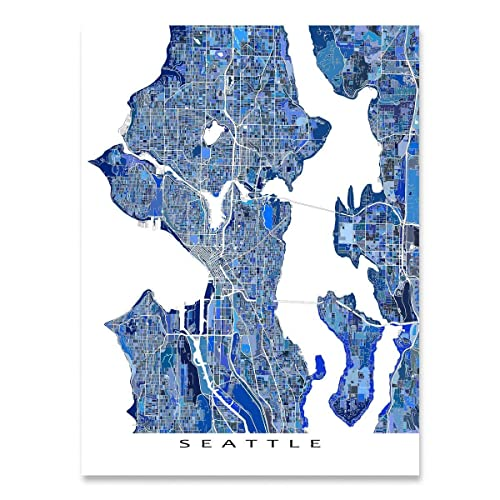 Amazon Com Seattle Map Print Washington Usa City Street Urban Art