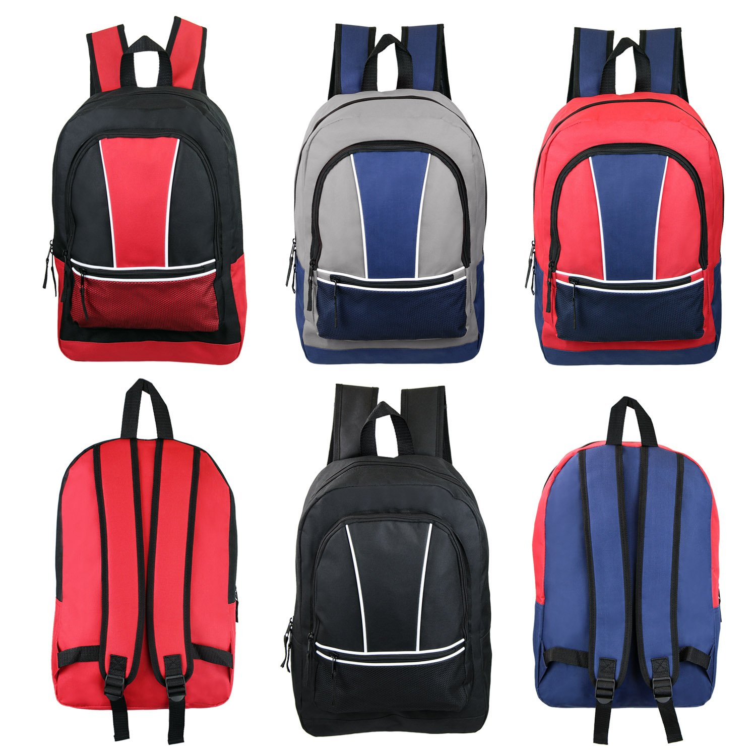 17'' Wholesale Kids Sport Backpacks in 4 Assorted Colors - Bulk Case of 24 Bookbags