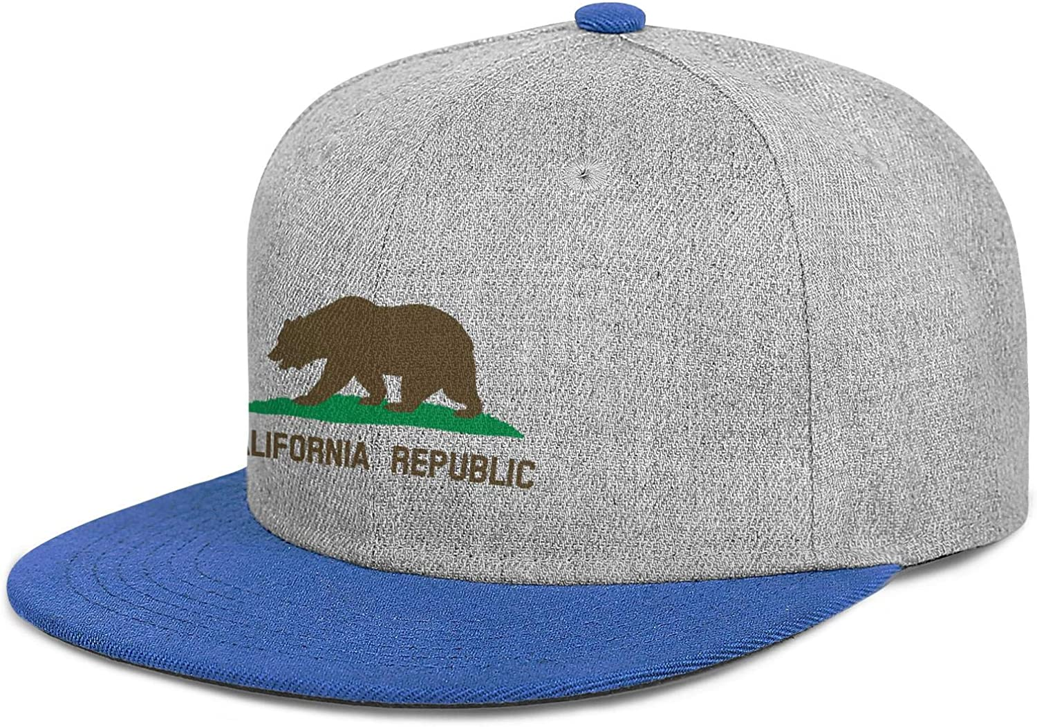 Snapback Custom Cap Bear, Star, Plot, Title, Solid Men Womens Flat Hat Flag of California
