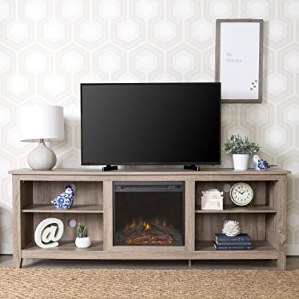 Superieur WE Furniture 70u0026quot; Wood Fireplace TV Stand Console, Driftwood