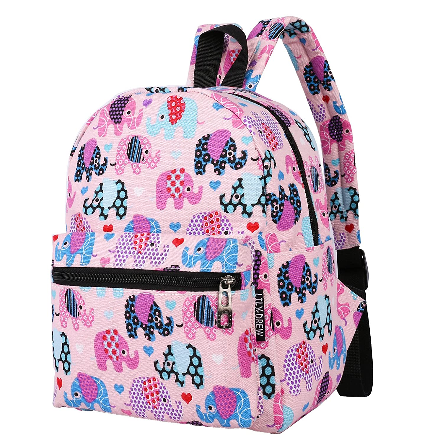 Lightweight Canvas Mini Backpack for Women Teens and Kids Elephant Pink Small V2