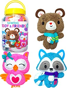 KRAFUN Sewing Kit for Kids Age 7 8 9 10 11 12 Beginner Art & Craft, Includes 3 Stuffed Animal Dolls, Instruction & Plush Felt Materials for Learn to Sew, Embroidery Skills - Teddy & Friends
