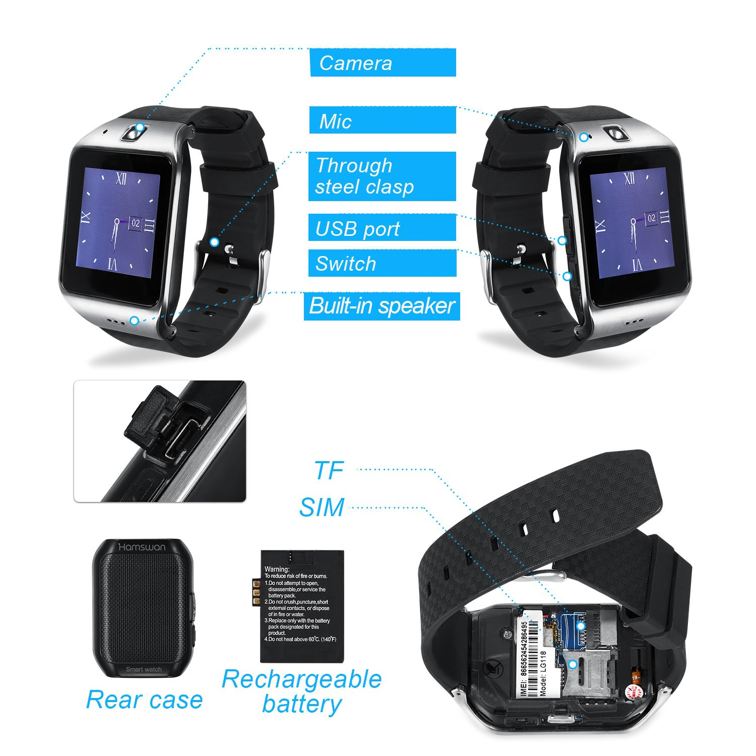 Bluetooth Smartwatch with Camera, EasySMX LG118 Smartwatch Cell Phone with Sim Card Slot, All in 1 Touch Screen Watch for iPhone, Android Samsung ...