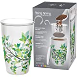 Teabloom BLOOMI Double Wall Insulated Ceramic Brewing Cup with Infuser Basket and Lid for Steeping – Loose Leaf Tea Maker – Intelligent & Beautiful Infuser Mug Design – Rising Spring