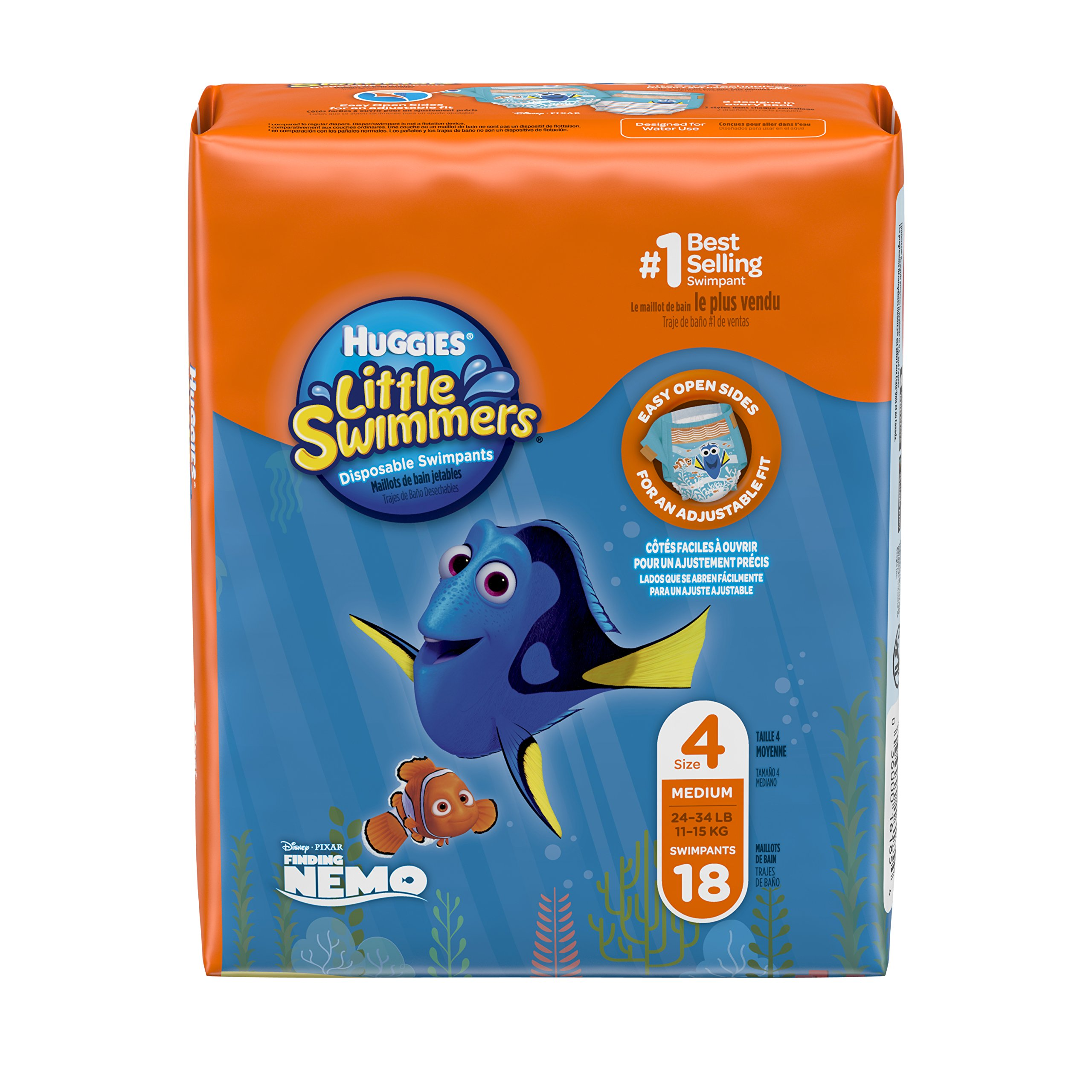 Huggies Little Swimmers Disposable Swim Diapers, Swimpants, Size 4 Medium (24-34