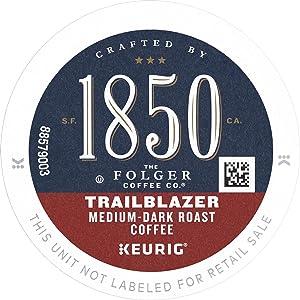 1850 by Folgers Coffee Trailblazer Medium Dark Roast Coffee, K-Cup, 10 ct