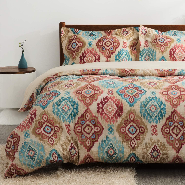 Bedsure Bohemian Duvet Cover King Size with Zipper Closure, Super Soft Microfiber Boho Comforter Cover Bedding Sets,(104x90 inches)