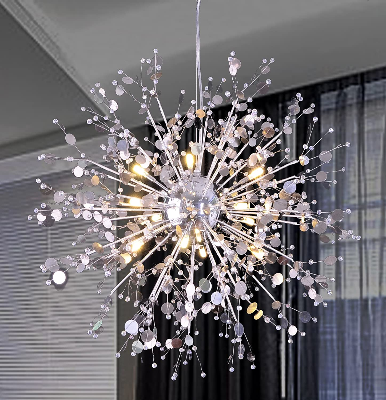 Gdns 12 pcs lights chandeliers firework led light stainless steel crystal pendant lighting ceiling light fixtures chandeliers lighting dia 23 5 inch