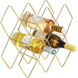 Feiren Outdoor 10 Metal Wine Bottle Wine Rack, Gold Wine Rack,Free Standing Holder, Rack Classic Style Space Saver Perfect for Bar Wine Cellar Basement Cabinet Metal Brushed Gold and Geometric Design