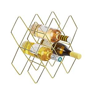 Fxin 8-10 Metal Wine Bottle Wine Rack,Wine holder,Wine Racks Free Standing,Wine holders stands, Geometric Wine Rack Perfect for Bar Wine Cellar Basement Cabinet Metal Brushed Gold and Geometric Design