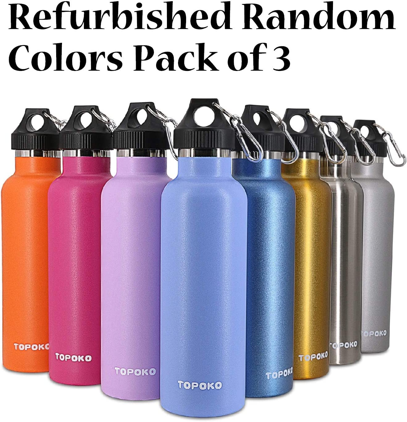 TOPOKO Refurbished 25 OZ Double Wall Insulated Water Bottle. Cleaned and Sanitized with Minor Cosmetic Defection and No Original Packaging. Random Colors Pack of 3 81zwpkMSTsL