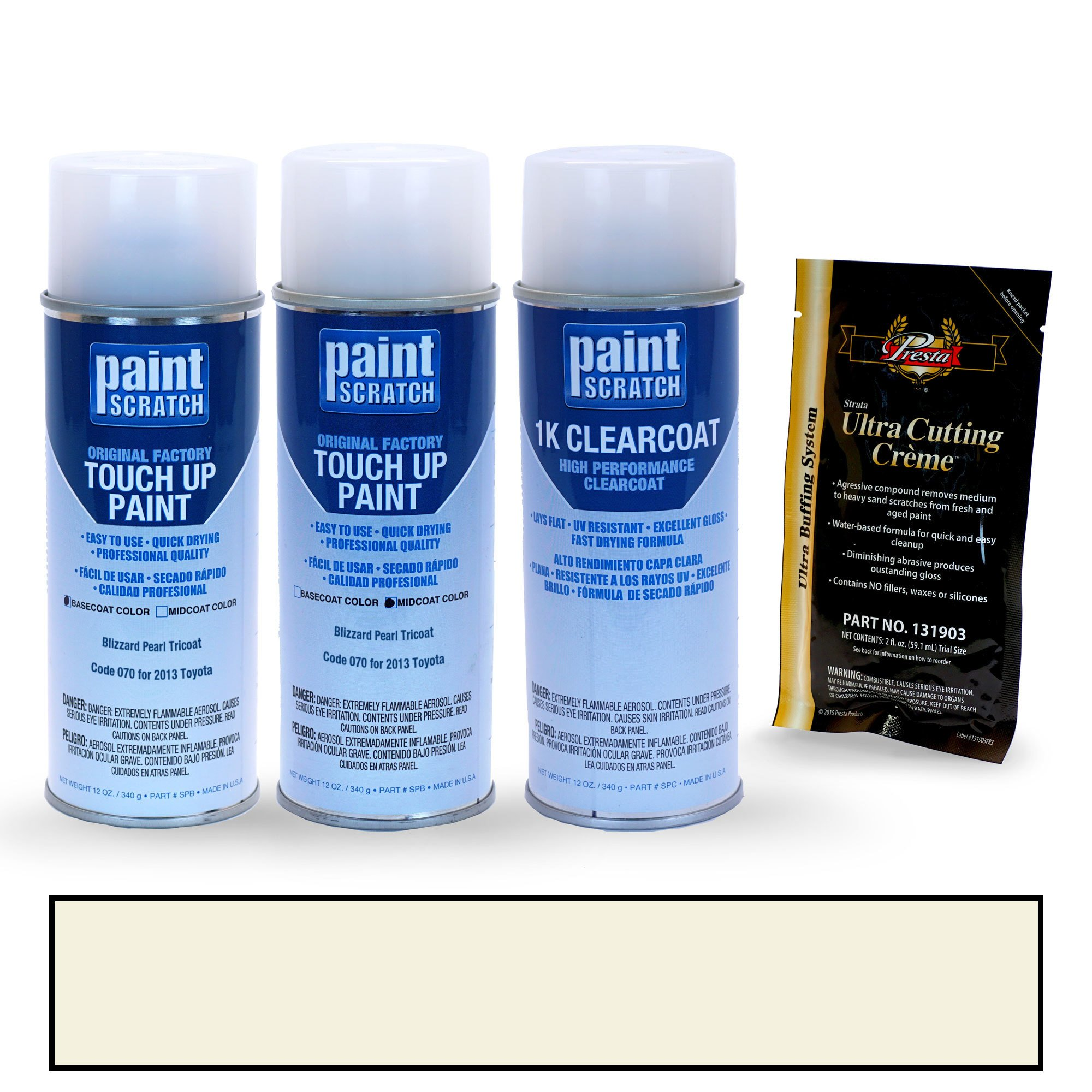 PAINTSCRATCH Blizzard Pearl Tricoat 070 for 2013 Toyota Prius - Touch Up Paint Spray Can Kit - Original Factory OEM Automotive Paint - Color Match Guaranteed