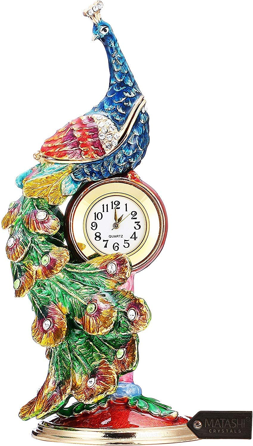 Matashi Hand Painted Peacock Trinket Box and Table Clock Hand-Painted Jewelry Holder with Elegant Crystals Decorative Bird, Long Feathers Home, Living Room Decor
