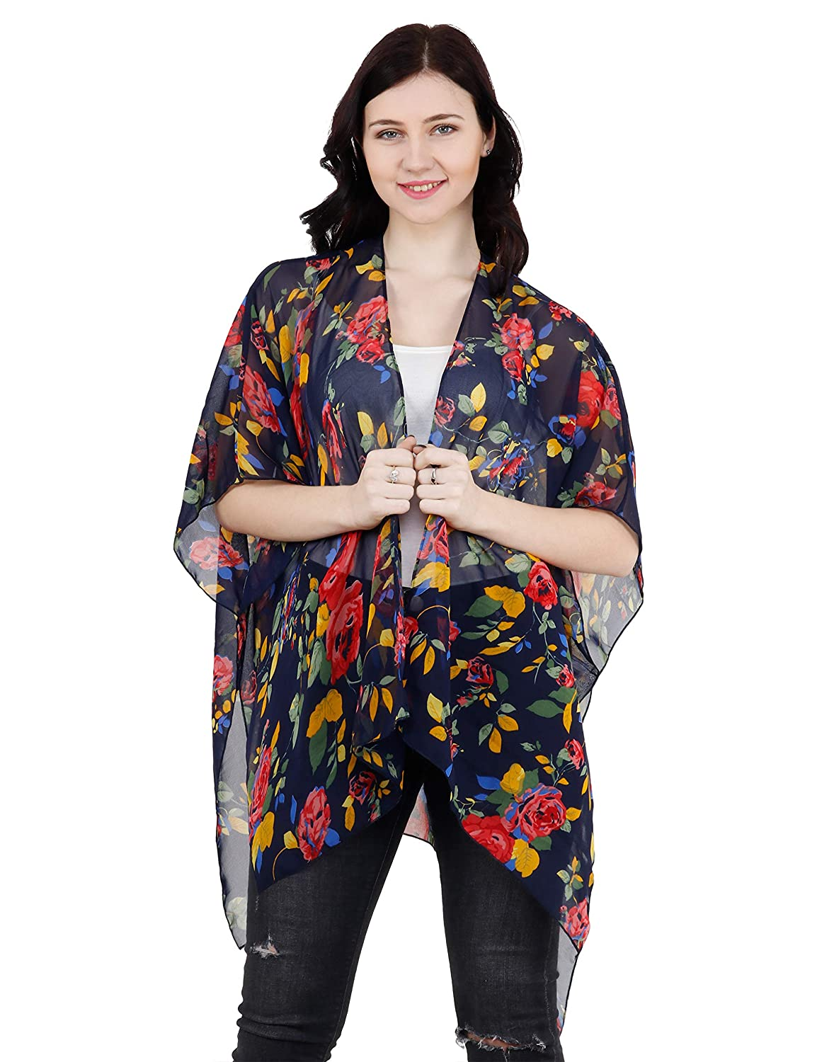 Navy bluee Flower TC Tanu Collections Women's Beach Cover up Swimsuit Kimono Cardigan with Bohemian Floral Print