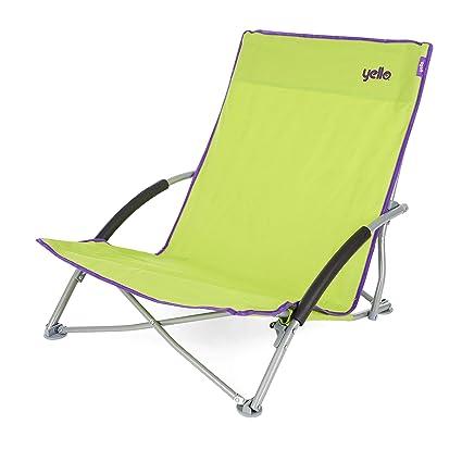 Yello - Silla Plegable de Playa, Unisex, Low Beach, Verde