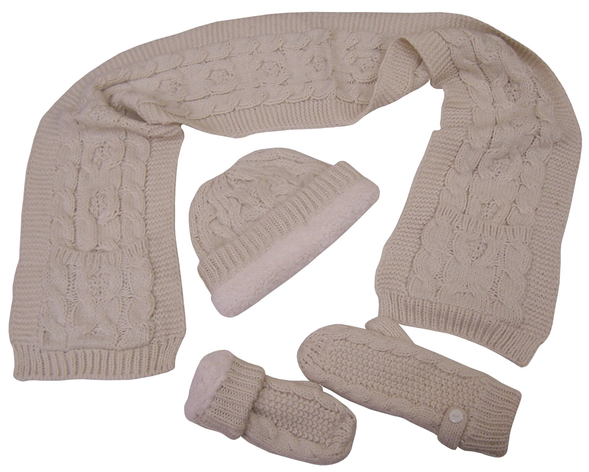 N'Ice Caps Big And Little Girls Cable Knit 3PC Set With Sherpa Lining (Teen/Adult, Winter white cream)