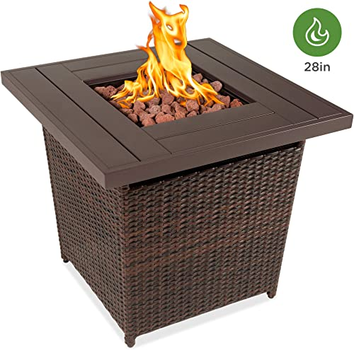 Best Choice Products 28in Fire Pit Table 50,000 BTU Outdoor Wicker Patio Propane Gas w Faux Wood Tabletop, Lava Rocks, Cover, Hideaway Tank Holder, Lid Brown