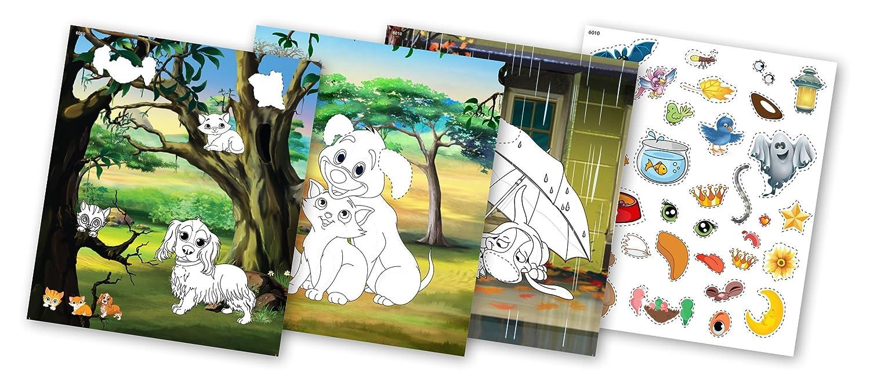 quac kduck Libro para Colorear Cats and Dogs - Color with Glitter Stickers - Gatos y Perros - Pintar y Cortar con Glitter Adhesivos - Bloc para niños a ...
