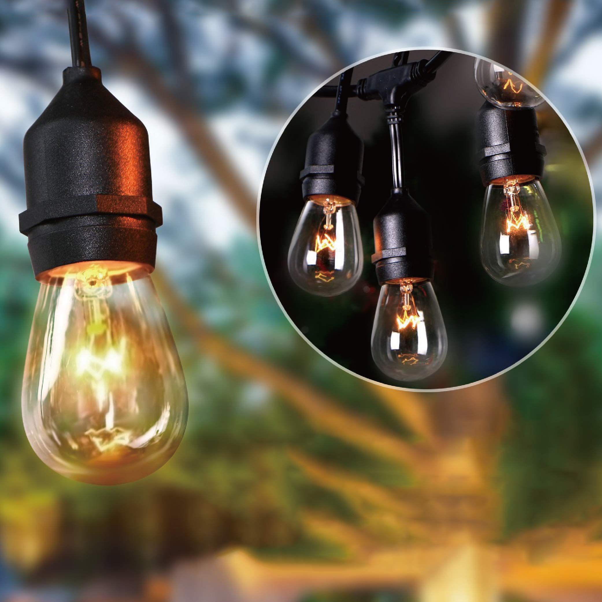 KMC 50 FT Waterproof Outdoor String Lights, 16/3 Heavy Duty Power Cord with 15 x E26 Sockets and Hanging Loops, 18 x 11 Watt S14 Dimmable Incandescent Bulbs Included (3 Spares), Perfect Patio Lights by KMC (Image #3)