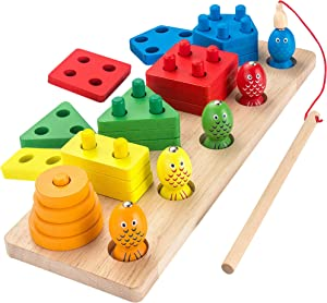 AppyHut Wooden Shape Sorter Stacker Toddlers Puzzles Toy Montessori Color Sorting Preschool Geometric Shapes Toy Peg Puzzles Board Blocks Baby Wooden Stacking & Sorting Toys for Toddlers Fishing Game!