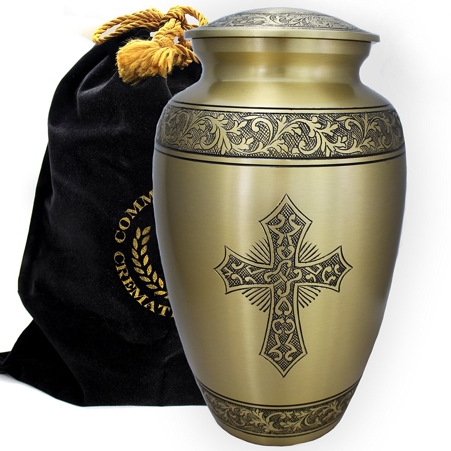 Love of Christ Gold Burial or Funeral Adult Cremation Urn for Human Ashes - Large, Adult