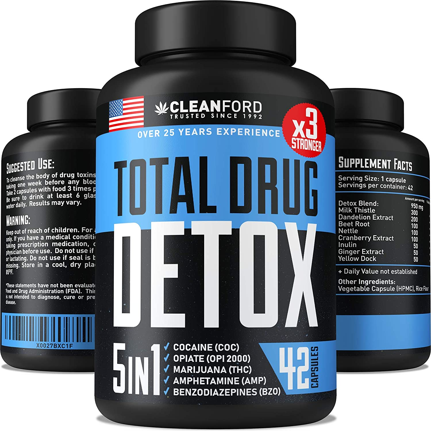 CLEANFORD THC Detox 5-IN-ONE – Premium Drug Cleanse Toxins Remove – Natural Drug Detox Pills – Best THC Cleanse to Live Free – Liver, Urinary Tract Kidney Detox Cleanse – Made in USA – 7-DAY Detox