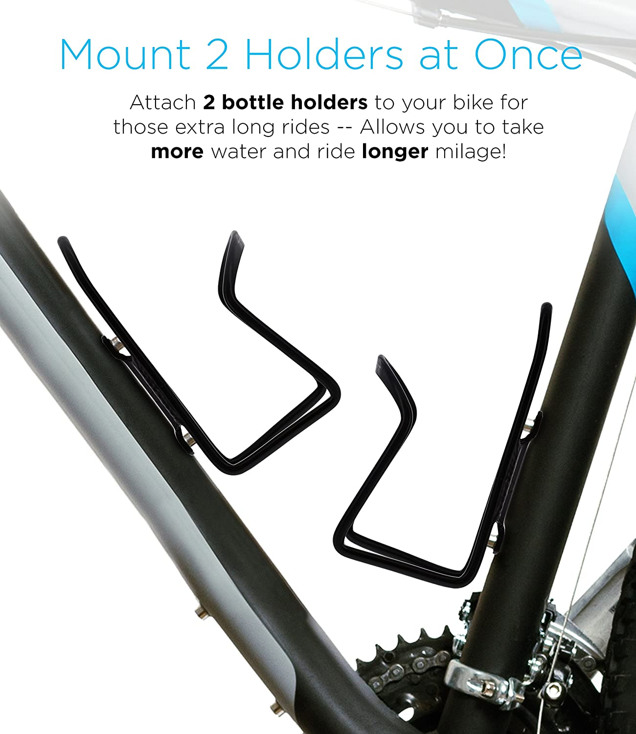 Bicycle Water Bottle Mount Lightweight for Cycling Fits Any Bike with Easy Installation S-ABC2PK-01 Aduro Bike Water Bottle Holder Aluminum Cage, 2X Pack