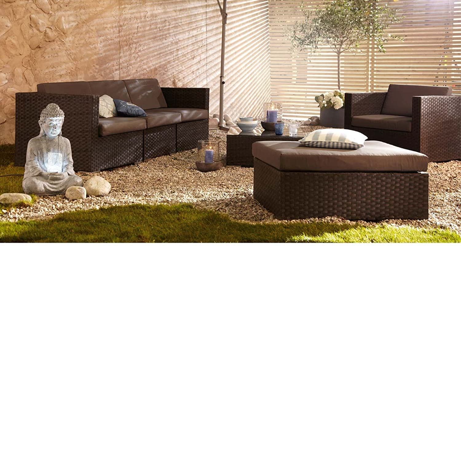 gartenm bel set aus kunstrattan mit auflagen 6 teilig braun g nstig. Black Bedroom Furniture Sets. Home Design Ideas