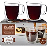 12 oz Glass Coffee Mugs - Set of 2 - Clear Double Wall Glasses - Insulated Glassware With Handle - Large Espresso Latte…