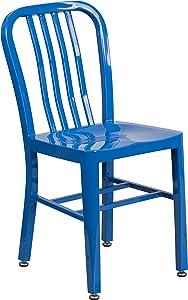 Flash Furniture Commercial Grade Blue Metal Indoor-Outdoor Chair