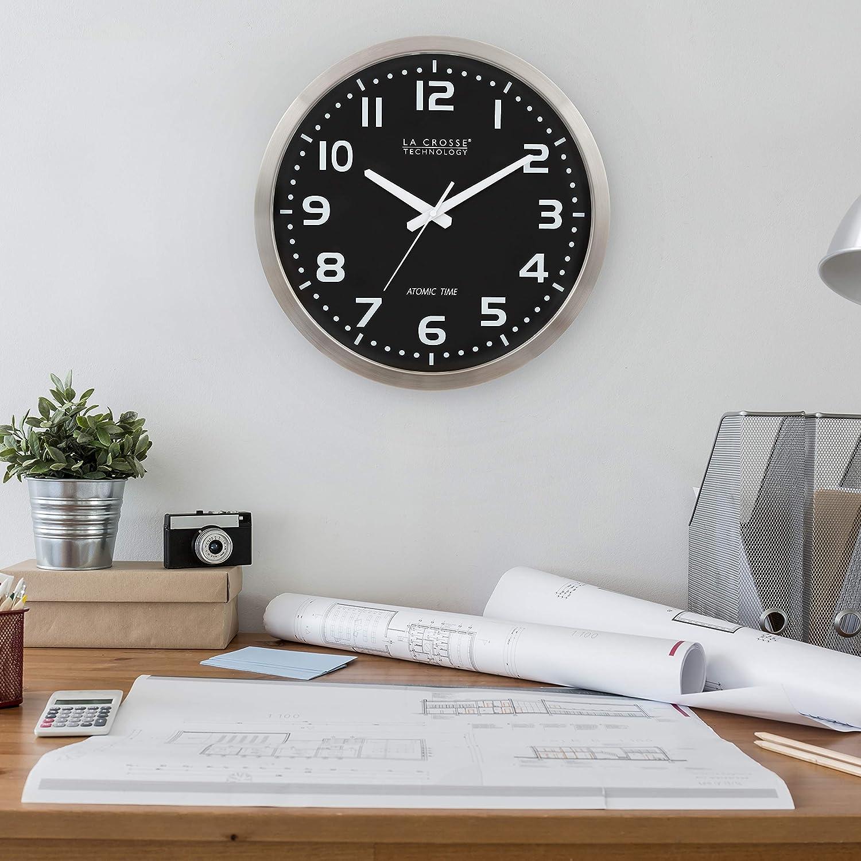 La Crosse Technology WT-3161BK 16-Inch Stainless Steel Atomic Clock
