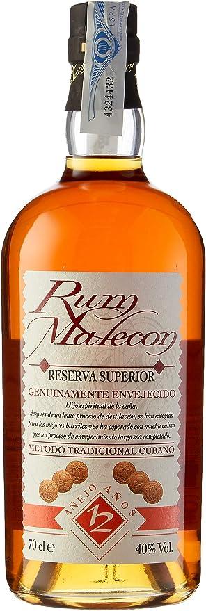 Malecón Ron Superior Reserva 12 Años - 700 ml: Amazon.es ...
