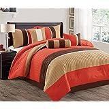 Luxlen Closeout 7 Piece Luxury Bed in Bag Comforter Set, King, Orange/Taupe