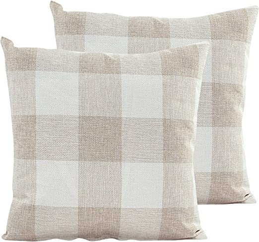 RED 100/% natural beige cotton canvas decorative slip sofa throw 2 Cushion Cover