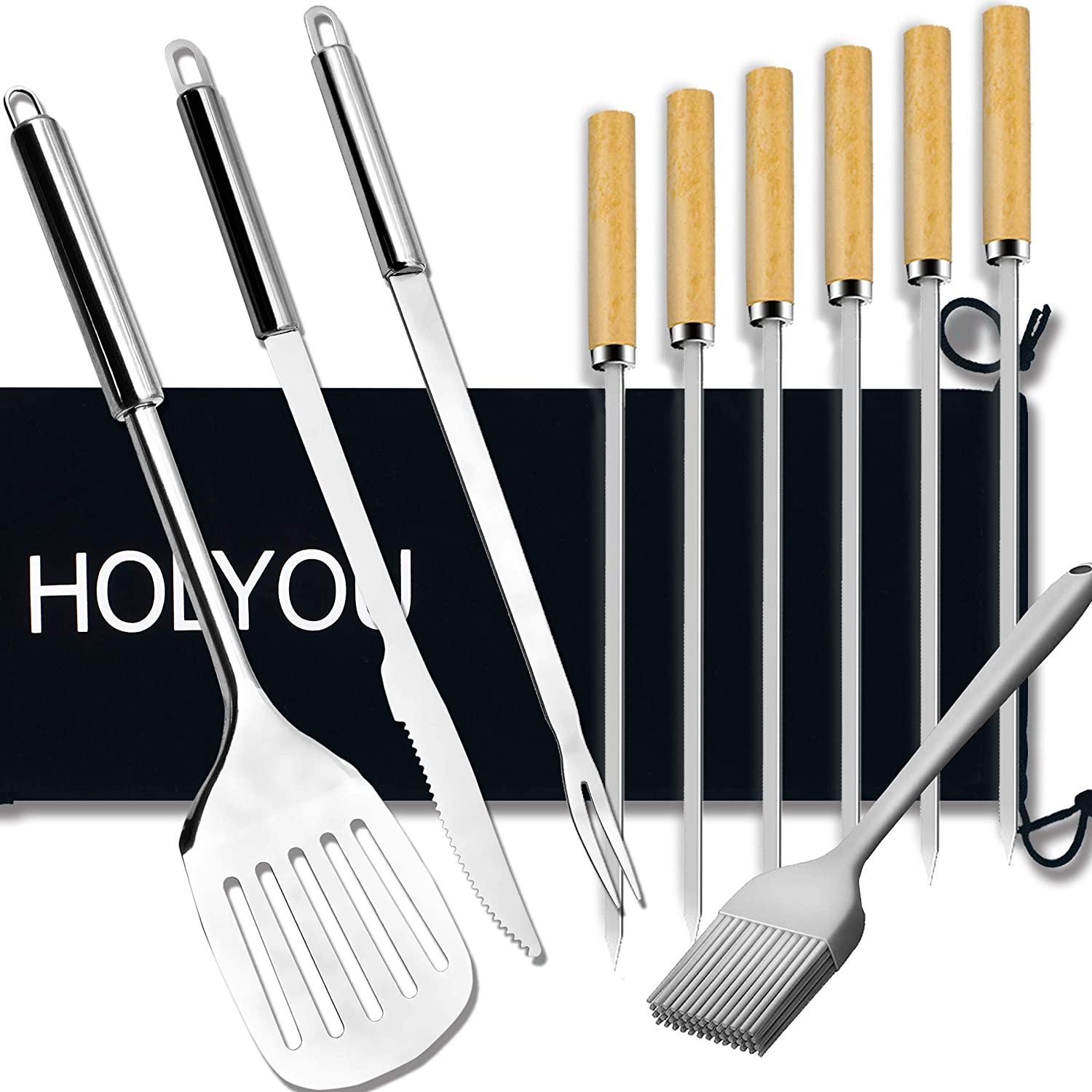 HOLYOU Grilling Accessories, BBQ Tools Set, Stainless Steel Grill Kit for  Barbecue,Outdoor Camping, Kitchen,Perfect Grill Gift -8pcs