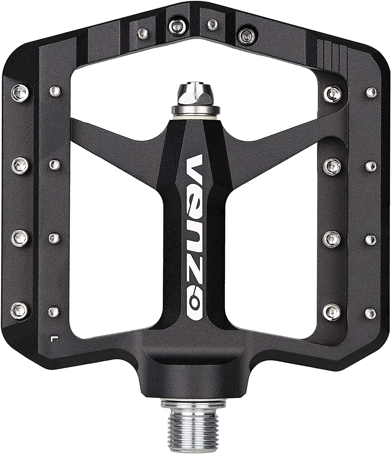"""Venzo Flat Mountain BMX MTB CNC Bike Sealed Oversized Bearing Pedals - Large Bicycle Platform -98mm x 98mm- 15mm Thickness - Pedals 9/16"""" with Anti-Skid Anti-Slip Nail - Downhill"""