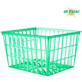 Set of 4-Inch Plastic Berry Boxes, One Pint Berry Baskets with Open-Weave Pattern, Ideal for Summer Picking! (48 Pack)