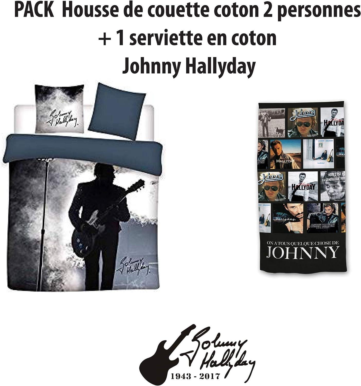 Johnny Hallyday Parure de lit 100/% Coton 2 Personnes 240x220 cm 2 Taies