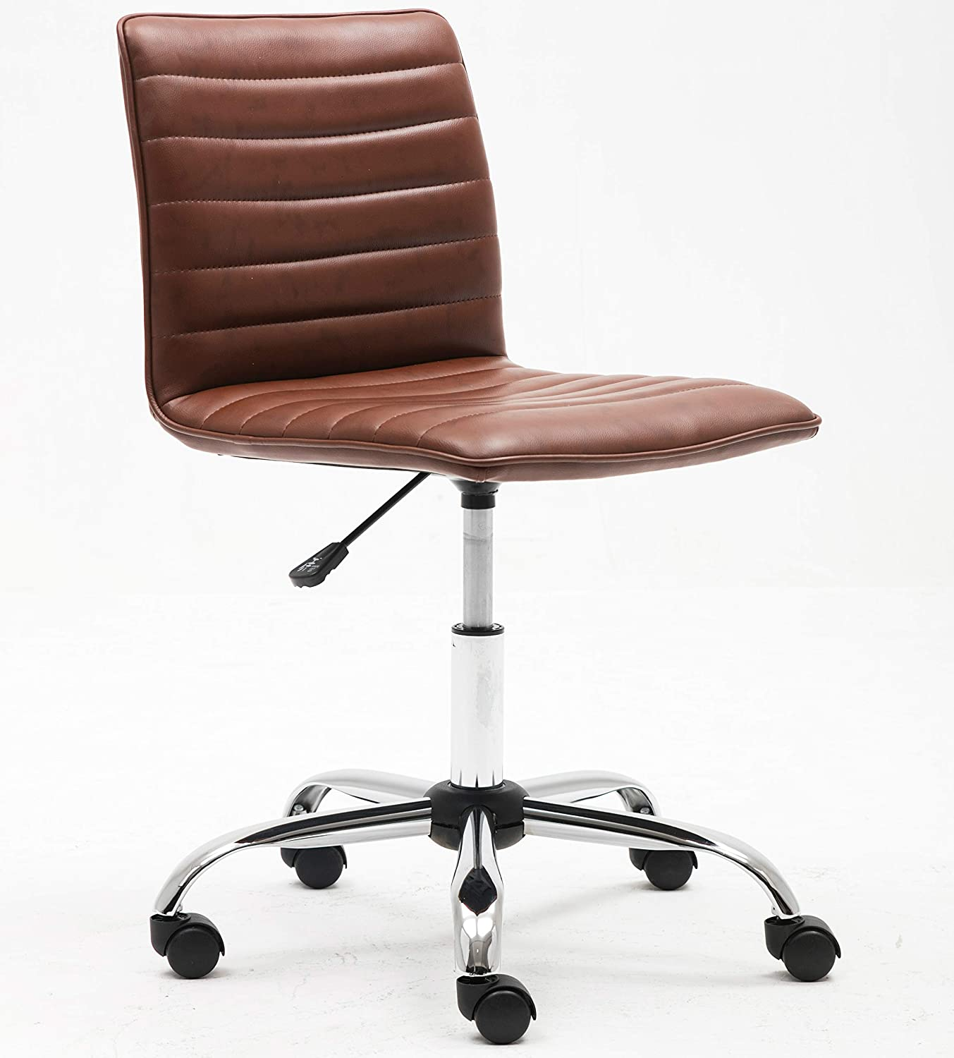 BTEXPERT Mid Back PU Leather Designer Task Ribbed Adjustable Swivel Home Office Chair, Brown