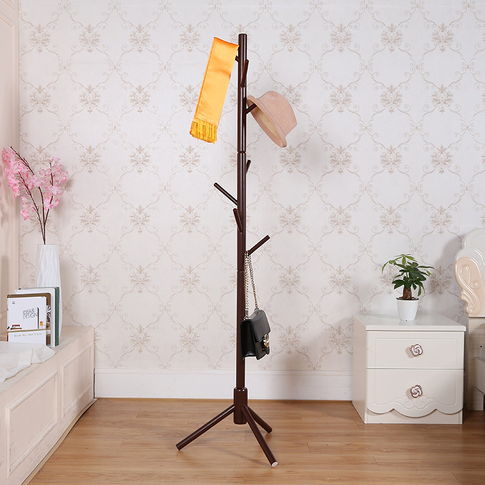 JOYBASE 8 hooks Wooden Coat Rack/Clothes Hanger Stand, for Coats, Hats, Scarves, Jacket and Handbags(Coffee) by JOYBASE (Image #6)