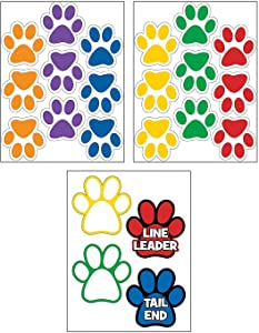 Fun Express Classroom Paw Shaped Floor Clings - 22 Pieces - Educational and Learning Activities for Kids
