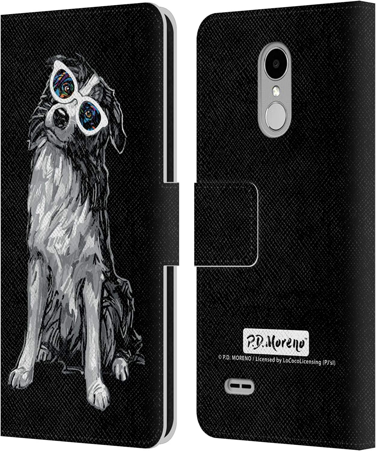 Official P.D. Moreno Border Collie Black and White Dogs Leather Book Wallet Case Cover Compatible for LG Stylus 3 / K10 Pro