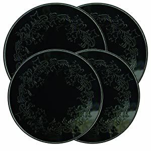 Range Kleen 5056 4 Pack Round Ivy Embossed Black Burner Kovers With 2 Small 8.5 Inch and 2 10.5 Inch