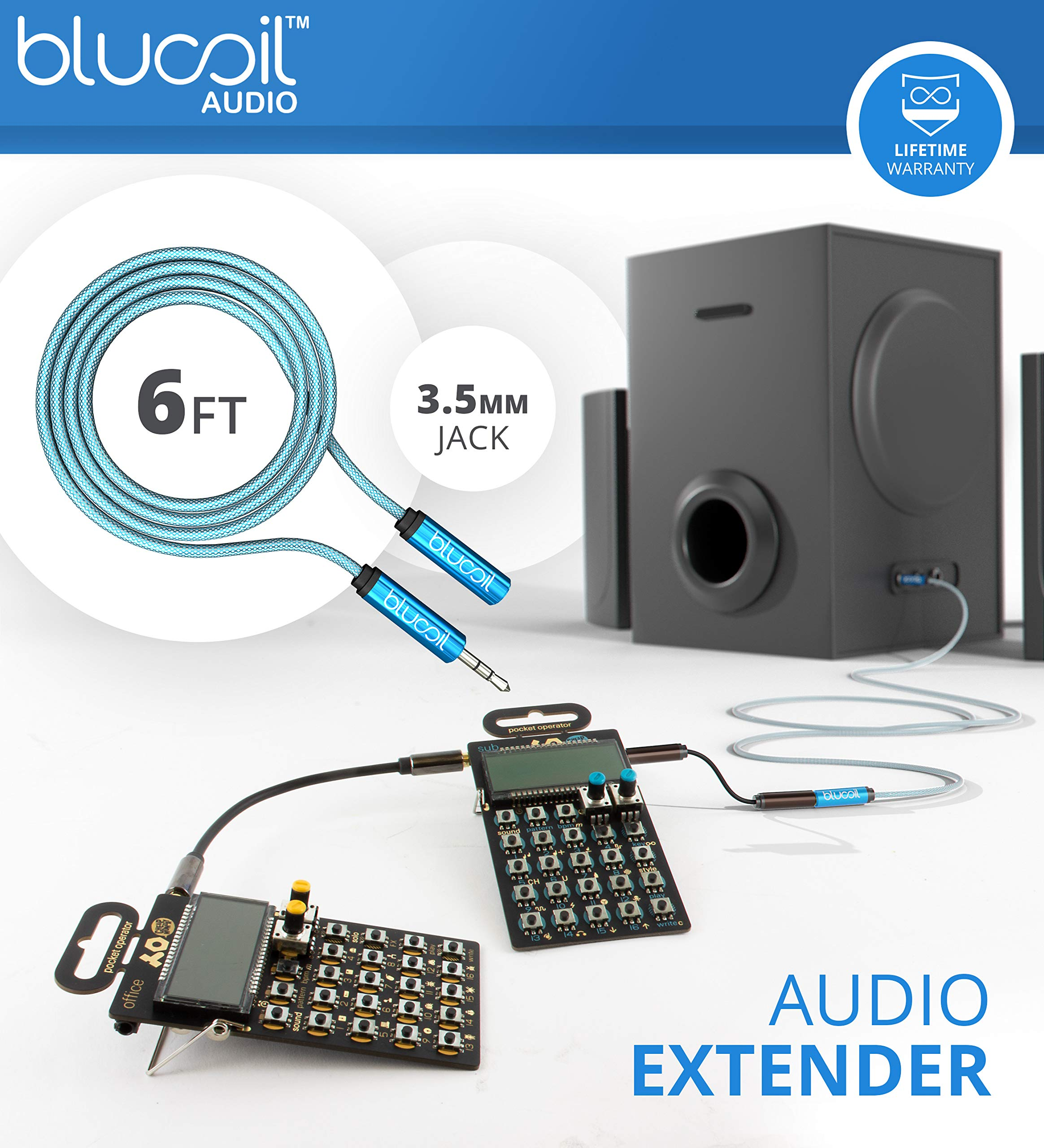 Teenage Engineering PO-28 Robot Pocket Operator, Sounds, Patterns & Effects Synthesizer & Sequencer Bundle with CA-28 Silicone Case, Blucoil 6-FT Headphone Extension Cable (3.5mm) & 2 AAA Batteries by blucoil (Image #7)