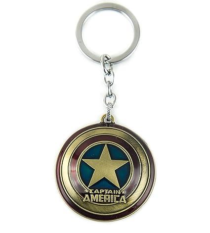 Llavero metálico del escudo del Capitán América Lzy-store ...