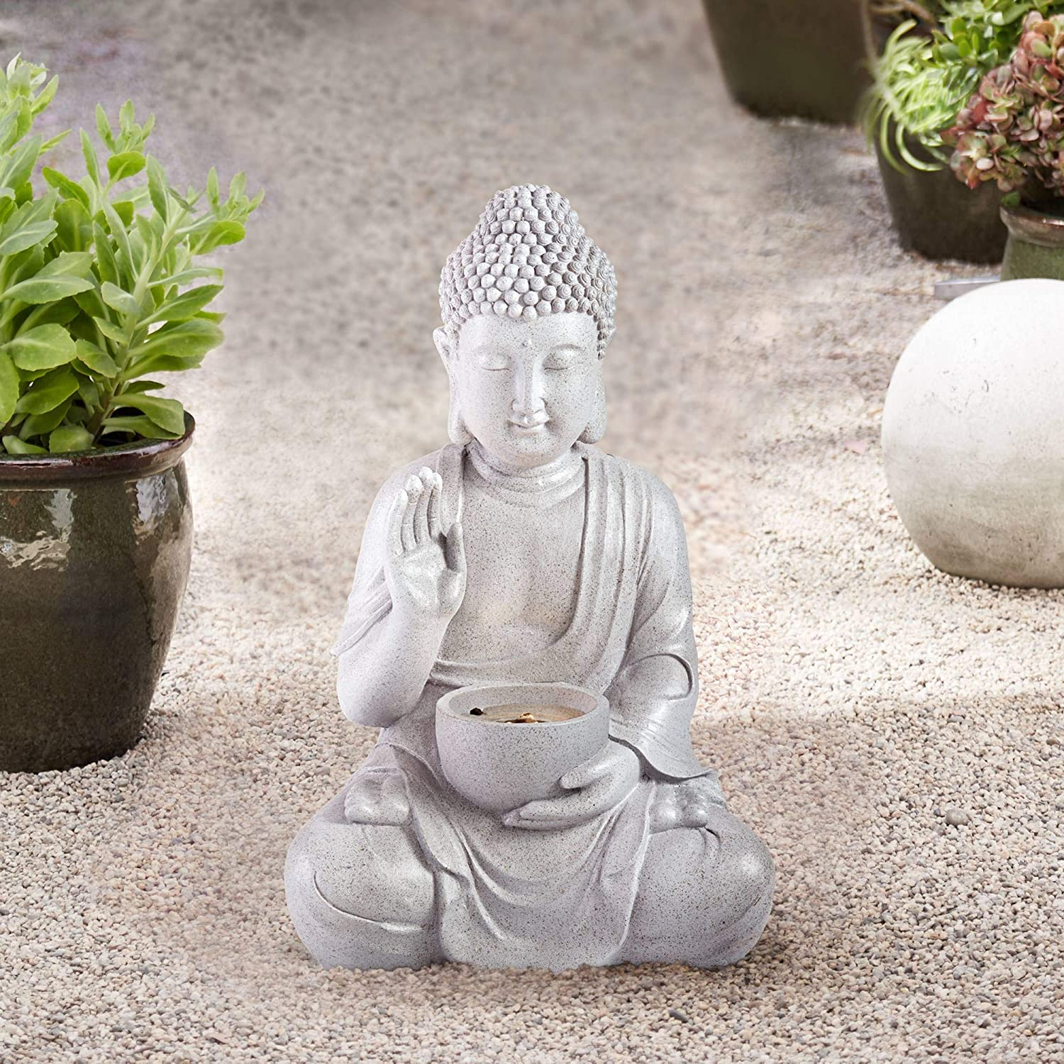 John Timberland Buddha Asian Zen Outdoor Water Fountain with Light LED 19